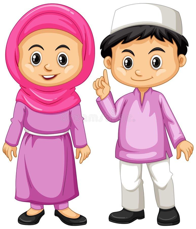 Muslim kids in purple outfit. Illustration vector illustration