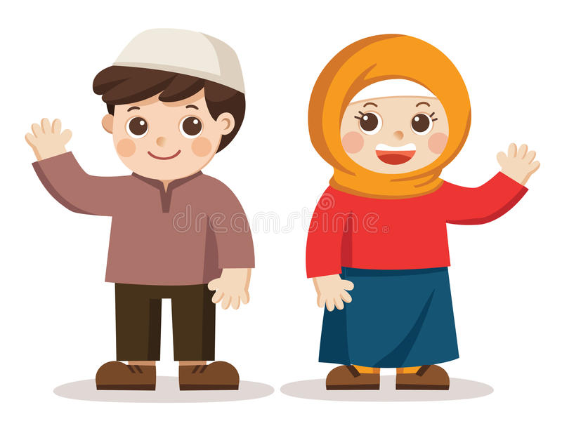 Muslim kids say hi. they look happy. Isolated vector. stock illustration