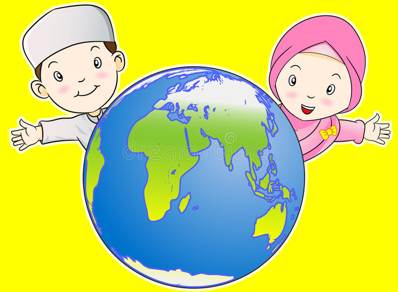 Muslim Kids and the World stock illustration