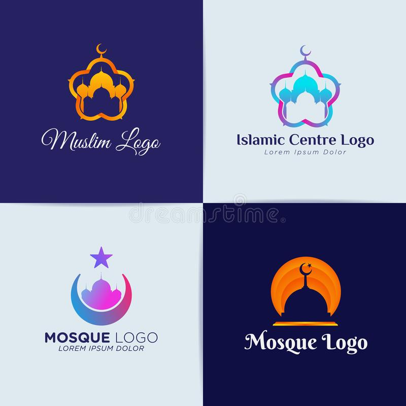 Muslim Mosque Islamic Centre Logo Template royalty free illustration