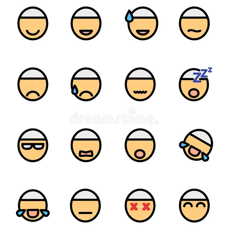 Muslim Male Emoticons Icon Set Design Filled Outline Style stock illustration