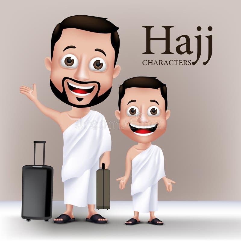 Muslim Man Character Performing Hajj or Umrah vector illustration