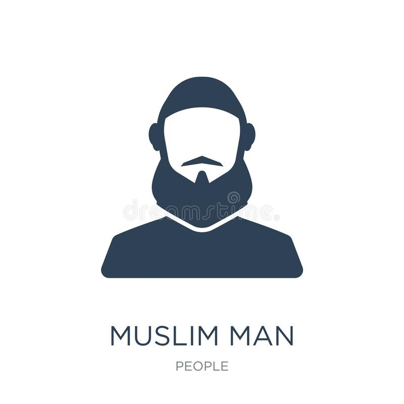 muslim man icon in trendy design style. muslim man icon isolated on white background. muslim man vector icon simple and modern stock illustration