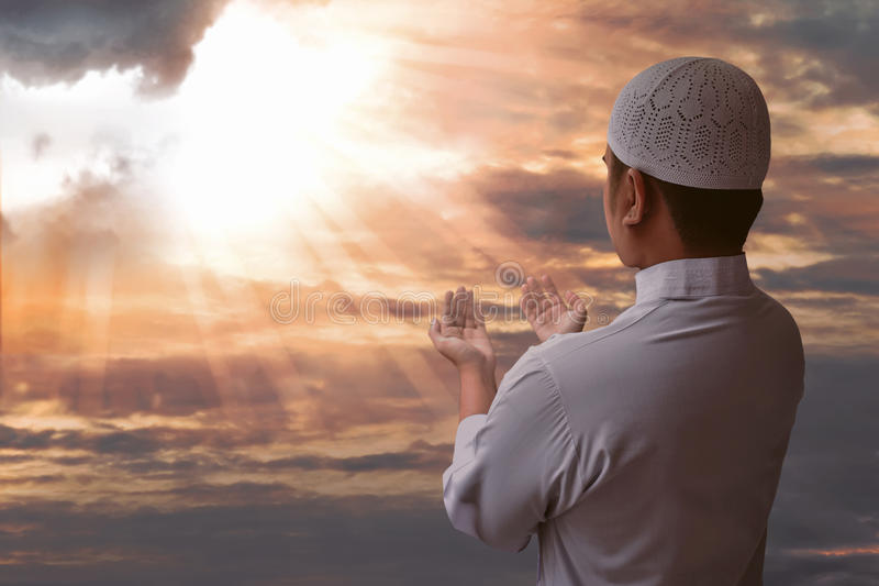 Muslim man praying royalty free stock image