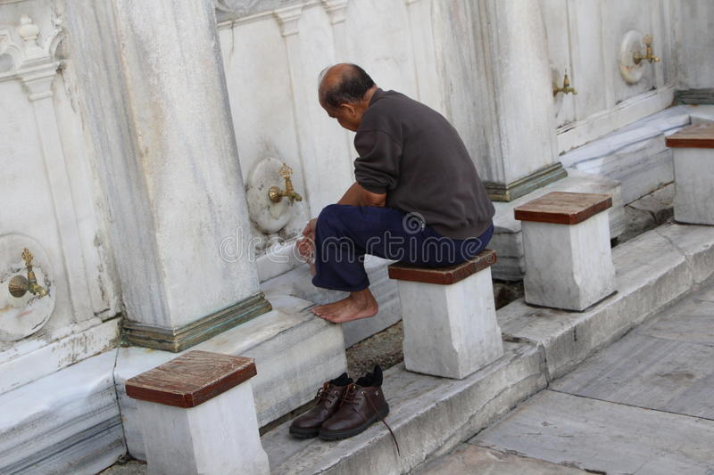 Muslim men ablution stock photography