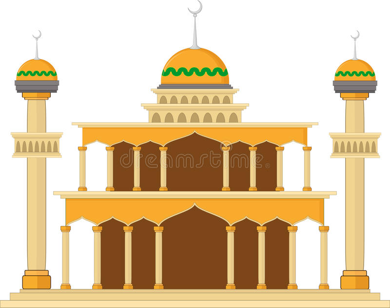 Muslim mosque isolated flat facade on white background. Flat with shadows architecture object stock illustration