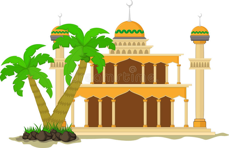 Muslim mosque isolated flat facade on white background. Flat with shadows architecture object. Vector cartoon design. Beautiful mu royalty free illustration