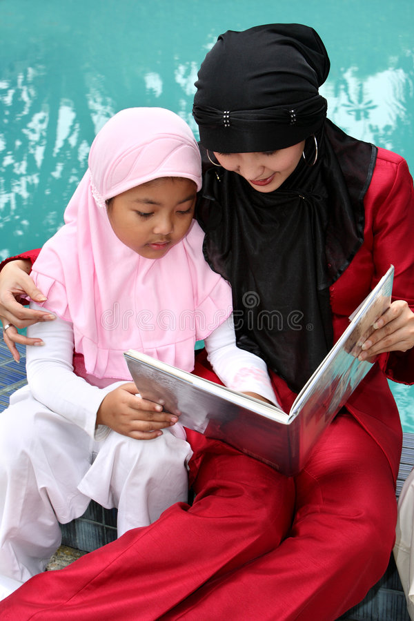 Muslim Mother and Child stock image
