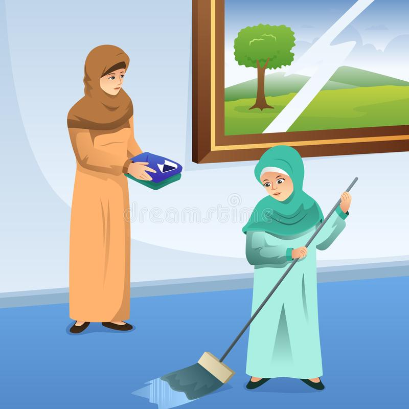 Muslim Mother and Daughter Doing Chores at Home. A vector illustration of Muslim Mother and Daughter Doing Chores at Home vector illustration
