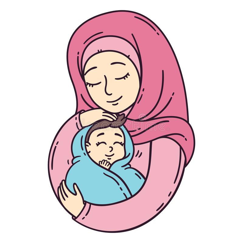 Muslim mother holding baby stock illustration