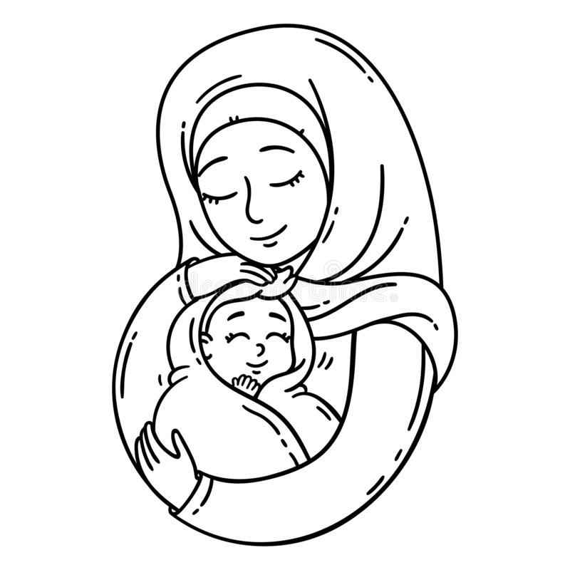 Muslim mother holding baby. royalty free illustration