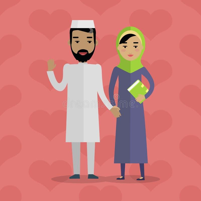 Muslim People. Arabian Family. Arabic Husband Wife royalty free illustration