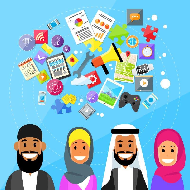 Muslim People Diverce Ethnic Arabic Man and Woman vector illustration