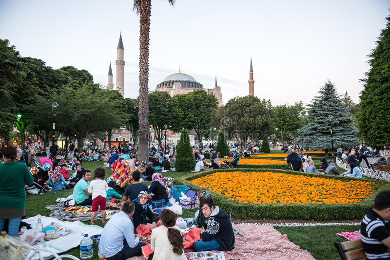 Muslim people who are fasting wait for the adhan ezan stock image