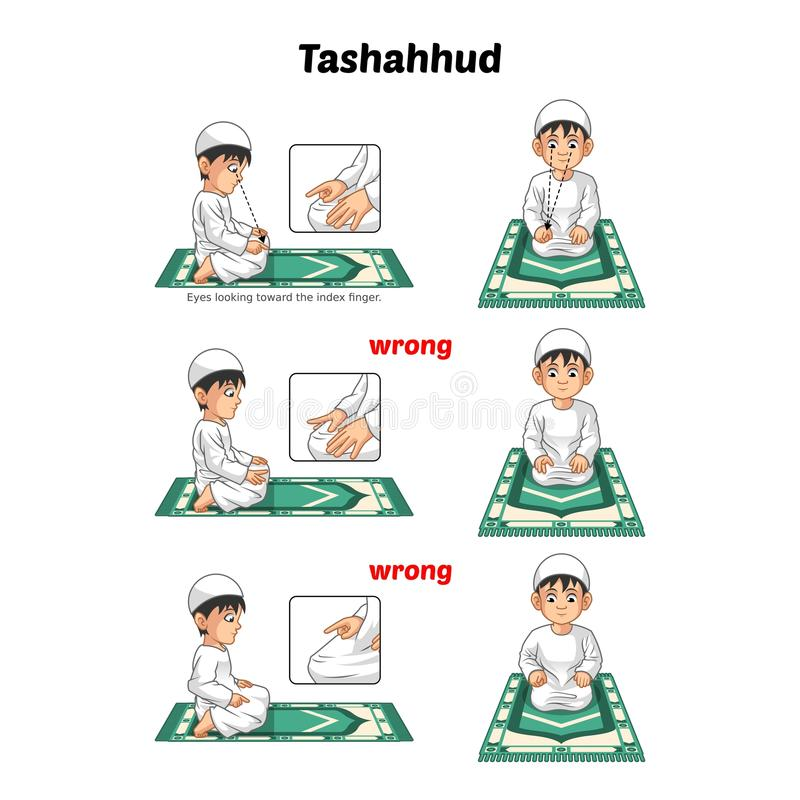 Muslim Prayer Position Guide Step by Step Perform by Boy Sitting and Raising The Index Finger with Wrong Position royalty free stock images