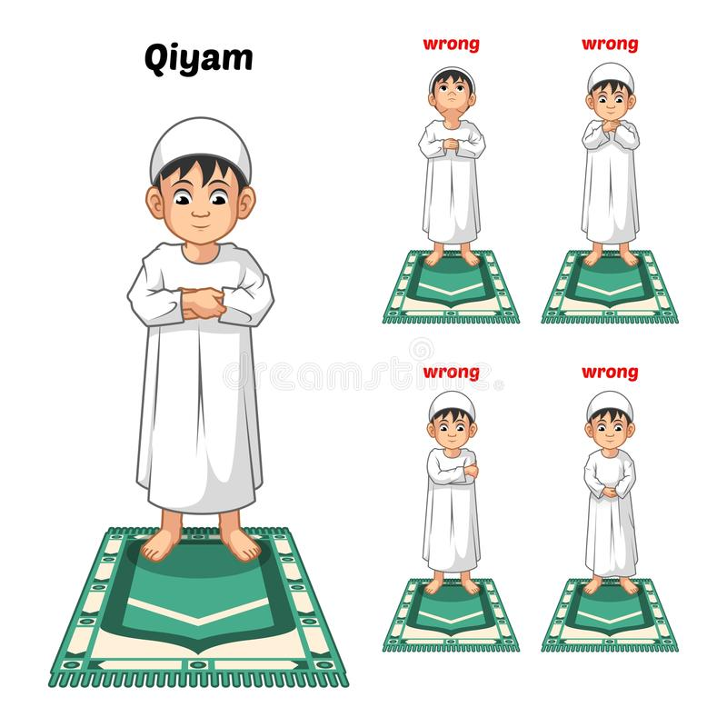 Muslim Prayer Position Guide Step by Step Perform by Boy Standing and Placing Both Hands with Wrong Position. Vector Illustration vector illustration