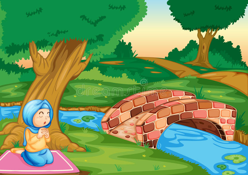 Muslim praying in the forest stock illustration