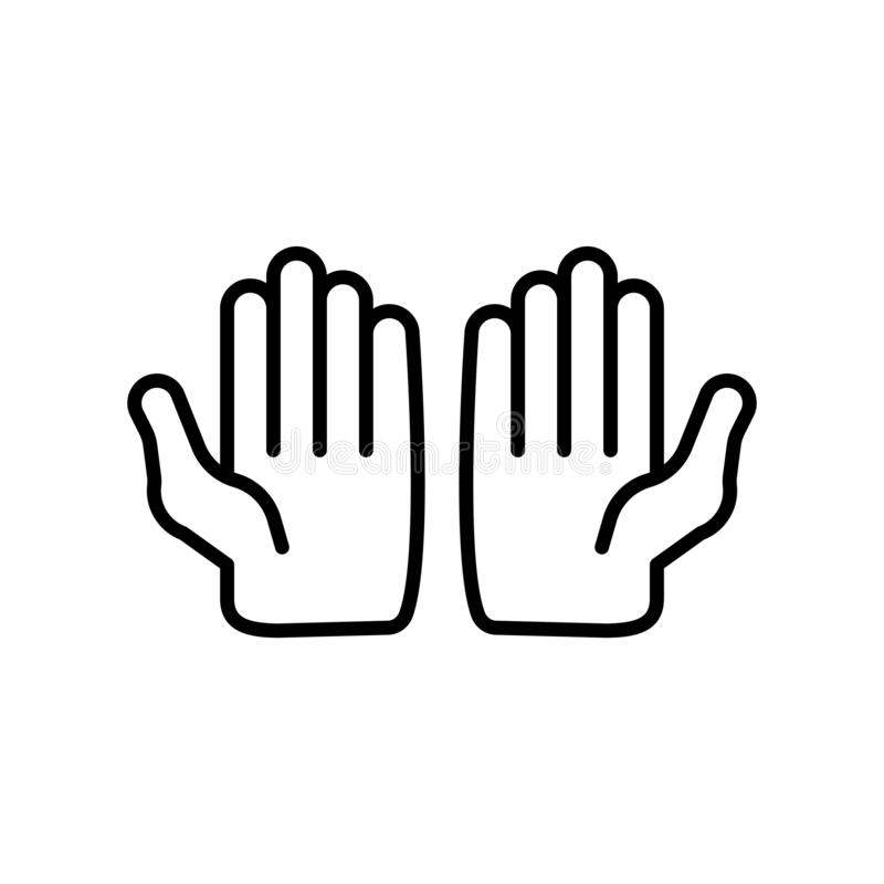 Muslim Praying Hands icon vector isolated on white background, Muslim Praying Hands sign , thin line design elements in outline stock illustration
