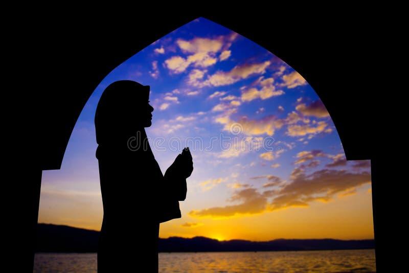 Muslim praying in mosque stock image