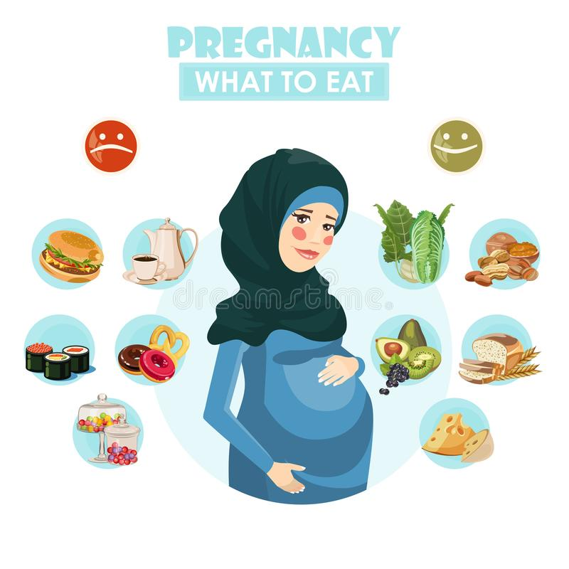 Muslim pregnant woman. What to eat. Vector colorful illustration with pregnancy concept. Healthy food royalty free illustration