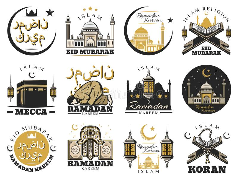 Muslim religion and Islam arabic culture signs. Islam muslim religion and arabic culture isolated symbols. Vector Ramadam Kareem holiday and Mecca Kaaba mosque royalty free illustration