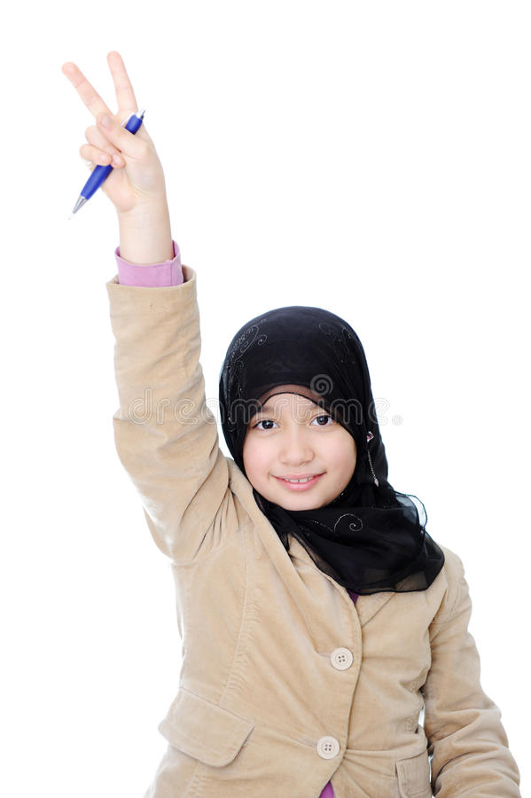 Download Muslim schoolgirl stock image. Image of finger, concentrate - 13458629