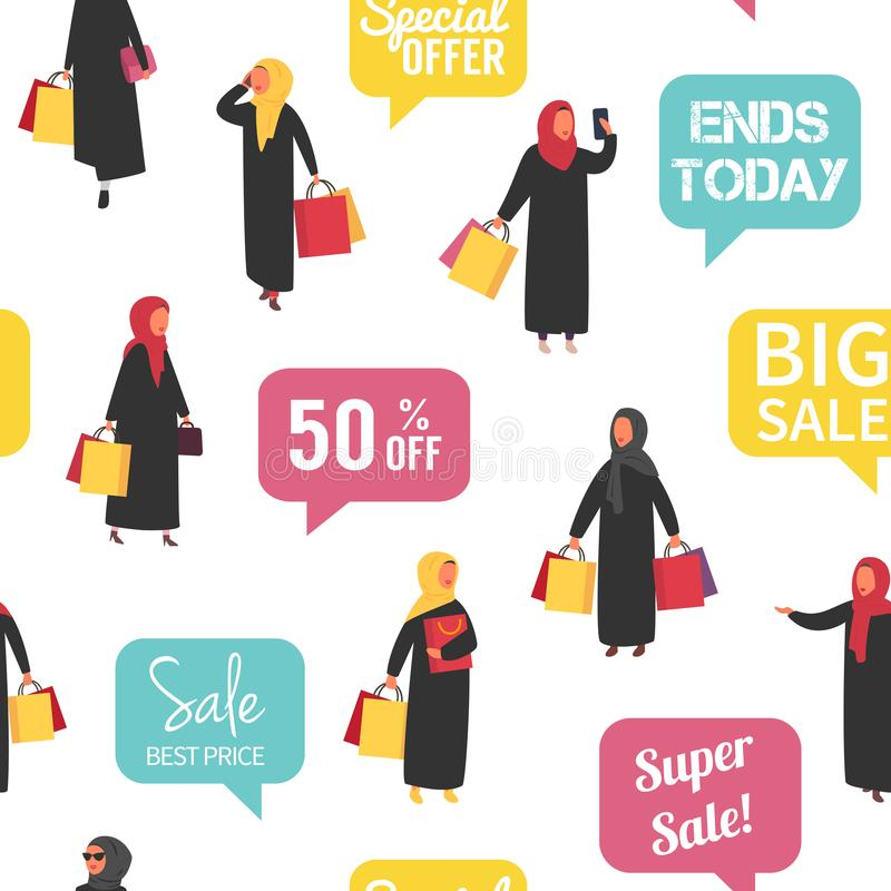 Muslim shopping people with bags. Seamless Vector illustration. Muslim shopping women in hijab and abaya traditional clothing with bags. Seamless vector sale royalty free illustration