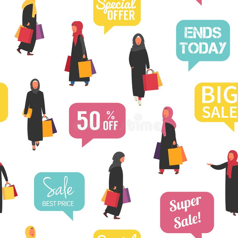 Muslim shopping people with bags. Seamless Vector illustration. Muslim shopping women in hijab and abaya traditional clothing with bags. Seamless vector sale stock illustration