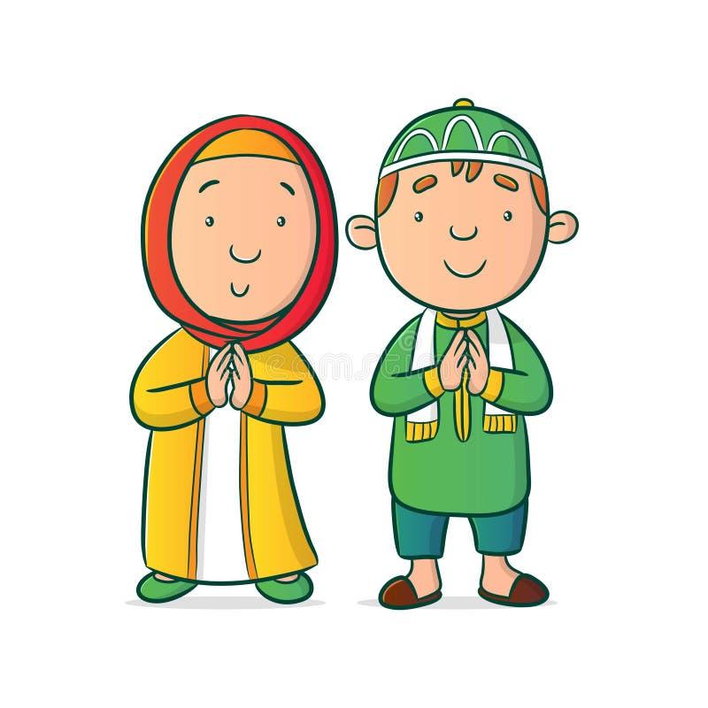 Muslim tecken för pojke och för flicka royaltyfri illustrationer