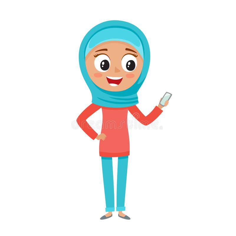 Muslim teenager in blue hijab in cartoon style isolated on white. stock illustration