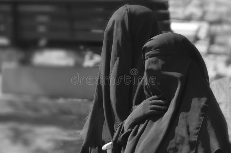 Muslim veiled woman. ISTANBUL TURKEY OCTOBER 08: Muslim veiled woman in the heart of downtown Istanbul on october 08 2013. The Turkish government banned women stock photography