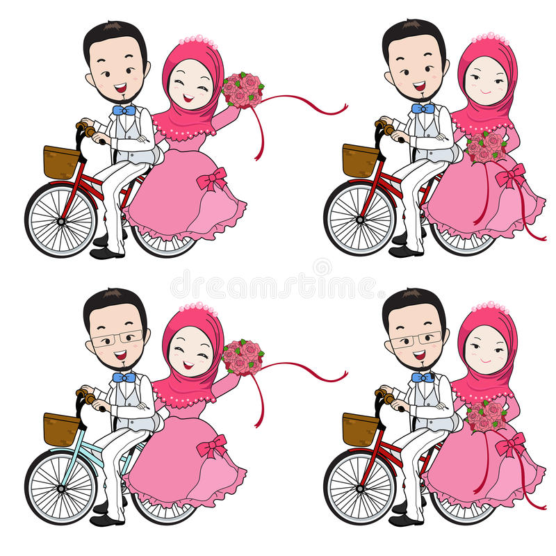 Muslim wedding cartoon, bride and groom riding bicycle with flow. Muslim wedding cartoon, groom riding bicycle, bride holding flower bouquet with happy face on stock illustration