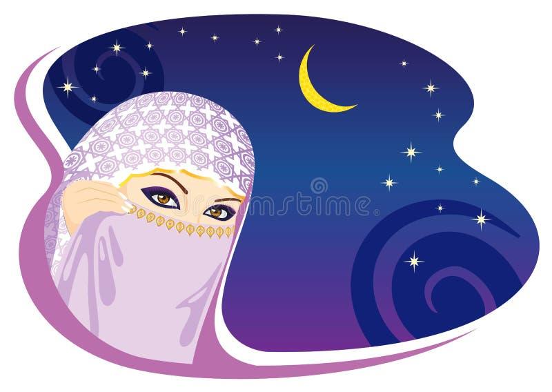 Muslim Woman And Arabian Night. Royalty Free Stock Images