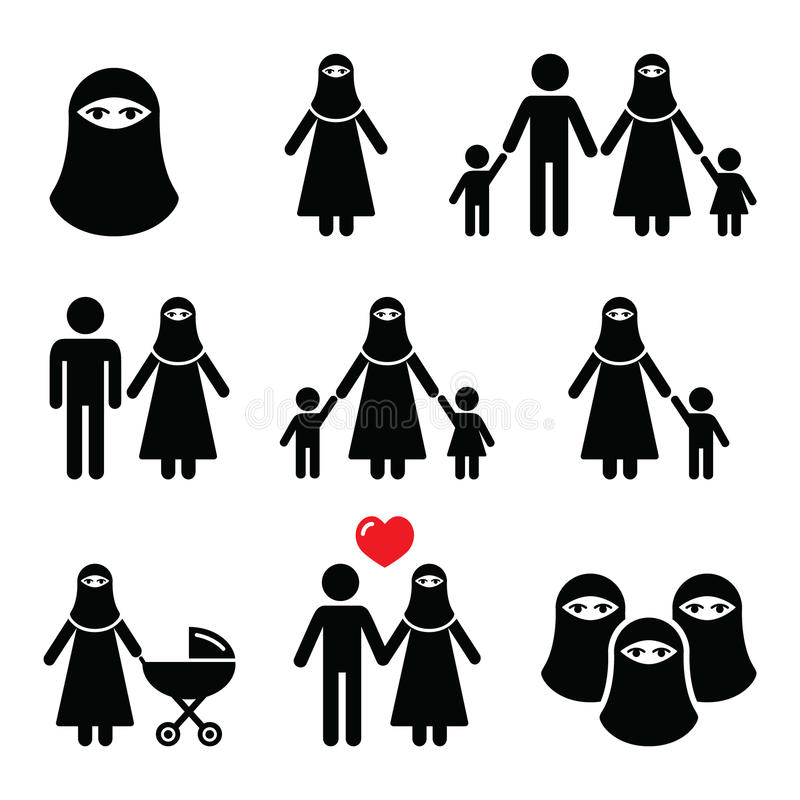 Muslim woman in burqa or burkha, bourkha, burka - family. Islamic traditional garment worn by women to cover their face stock illustration