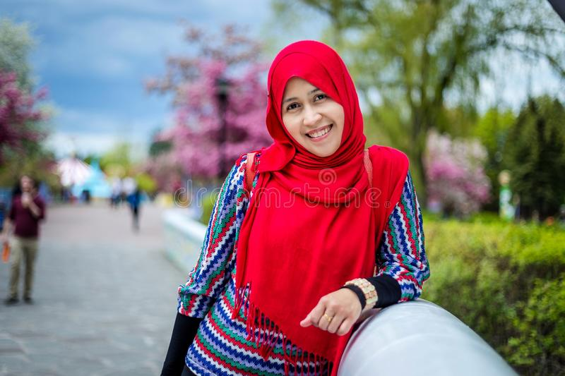 Muslim woman in Canada royalty free stock image