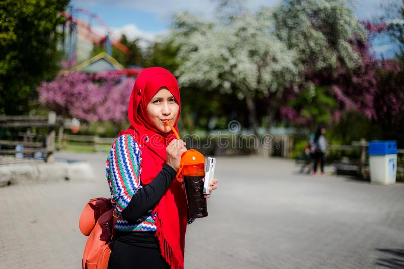 Muslim woman in Canada stock image
