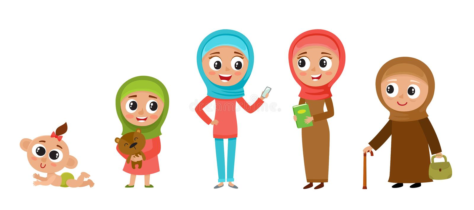 Muslim woman in cartoon style isolated on white. royalty free illustration