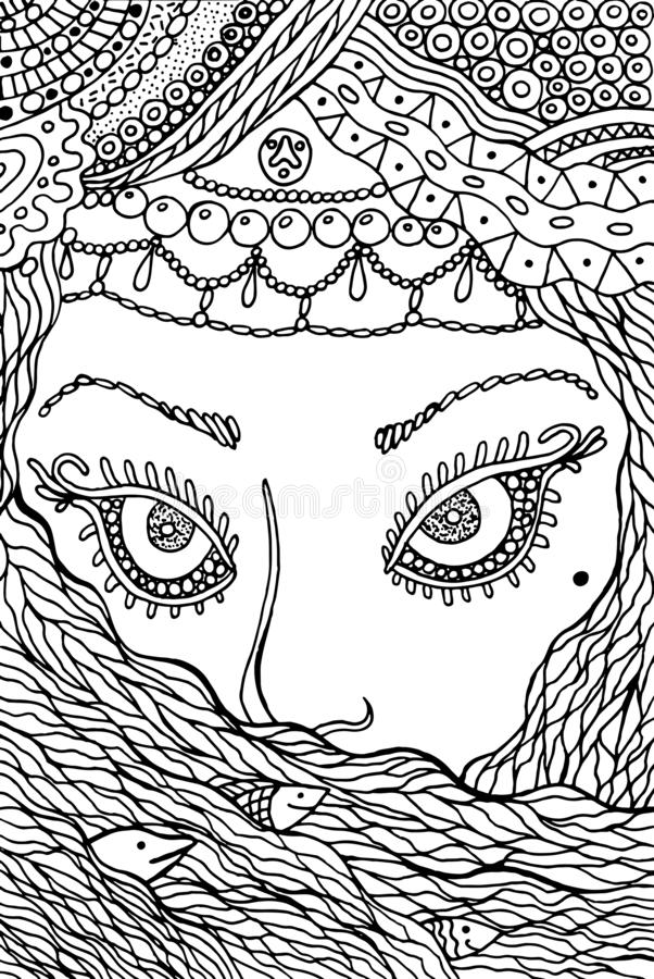 Muslim woman - coloring page for adults. Doodle ink graphic line. Out artwork. Vector illustration stock illustration