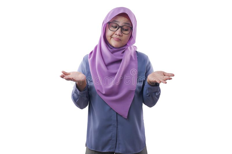 Muslim Woman Confuse to Make Decision Between Right or Left Choice royalty free stock photos