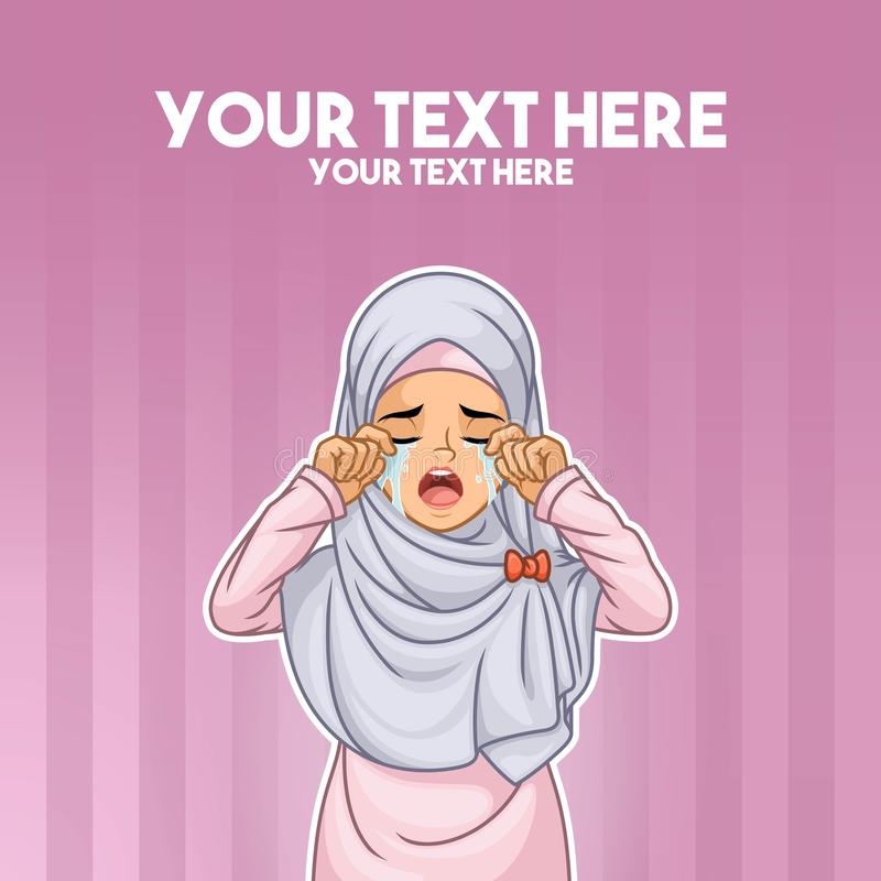 Muslim woman crying with hands on her face vector illustration