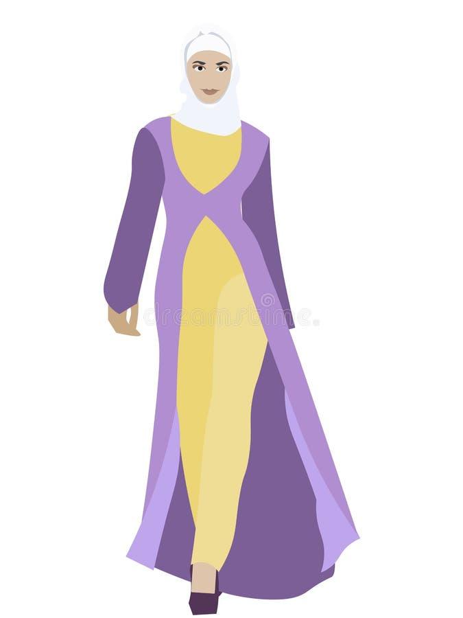 Muslim woman in folk clothes. Islamic religion, fashion abaya. In minimalist style. Cartoon flat Vector. Illustration royalty free illustration