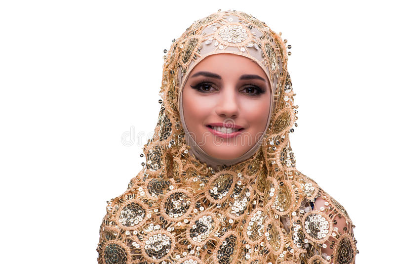 The muslim woman in gold cover isolated on white stock photo