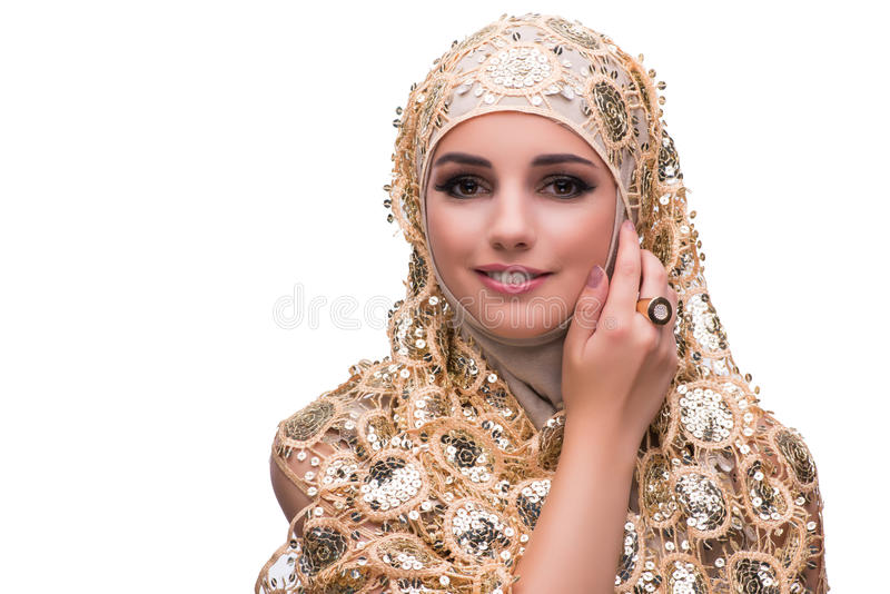 The muslim woman in gold cover isolated on white stock photos