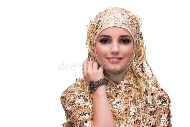 The muslim woman in gold cover isolated on white stock photography