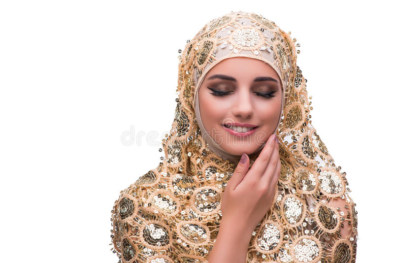 The muslim woman in gold cover isolated on white royalty free stock images