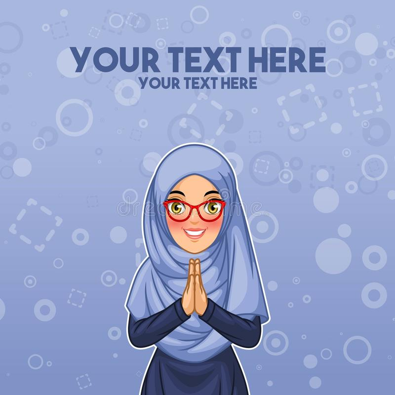 Muslim woman greeting with welcoming hands royalty free illustration