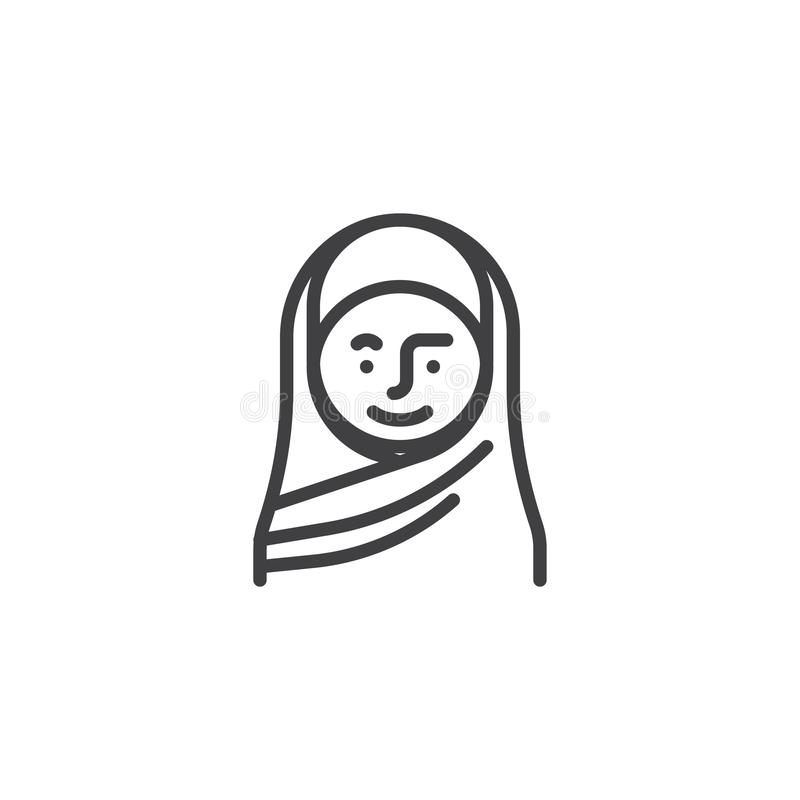 Muslim woman in a hijab line icon vector illustration