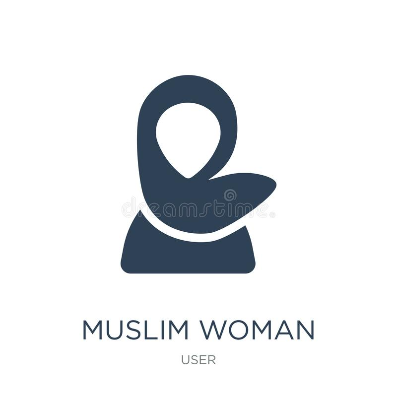 muslim woman icon in trendy design style. muslim woman icon isolated on white background. muslim woman vector icon simple and vector illustration