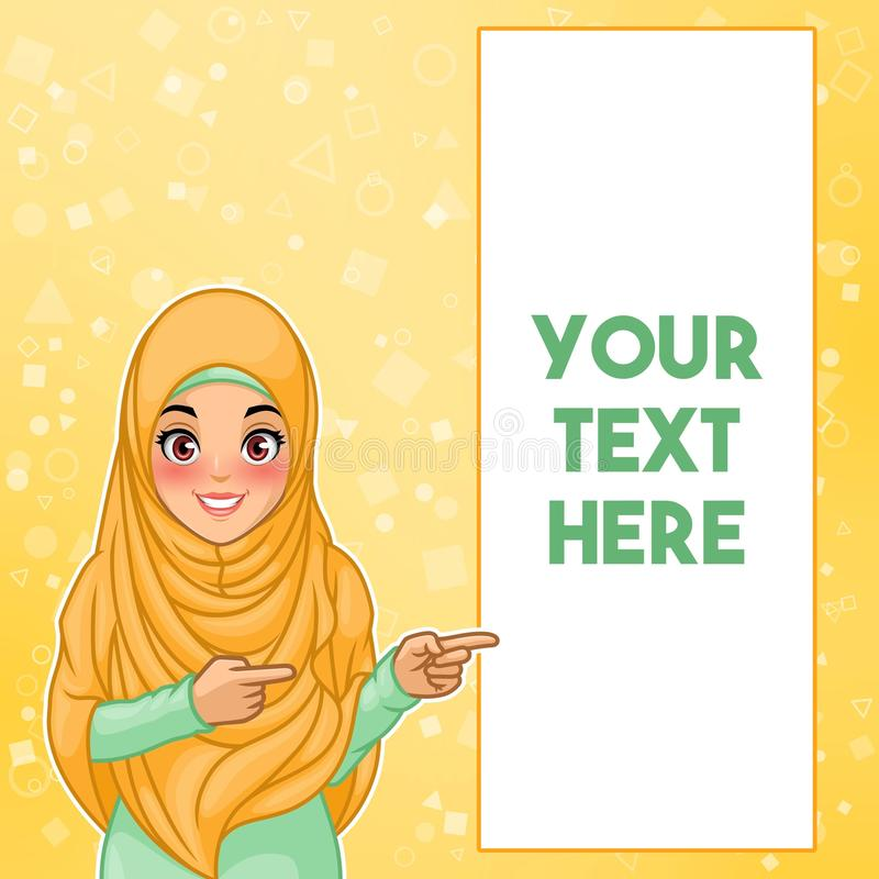 Muslim woman pointing finger to the left side at copy space royalty free illustration
