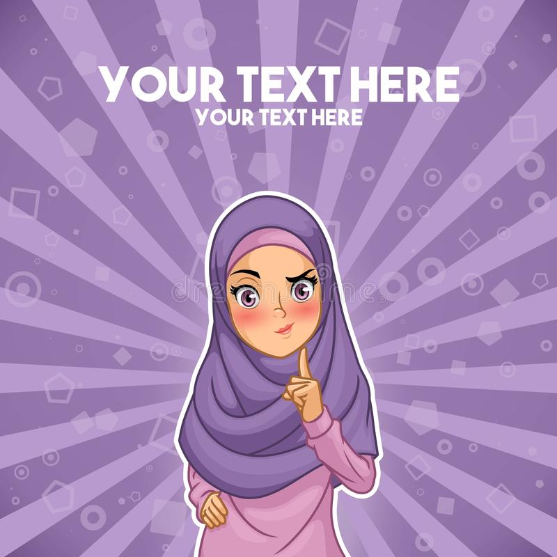 Muslim woman with a raised hand with finger up stock illustration